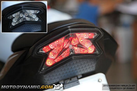 2013-2018 Kawasaki Ninja ZX-6R 2016 Z800 Sequential LED Tail Lights Smoke