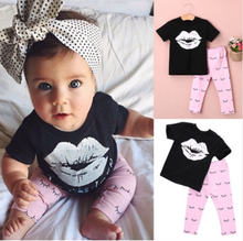 Kiss Your Mama T-shirt + Pants 2pcs Clothes Set