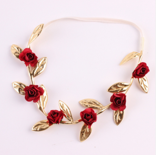 Red Gold Leaf flower Headband