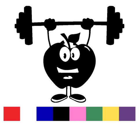 Apple With Barbell Decal Vinyl Sticker