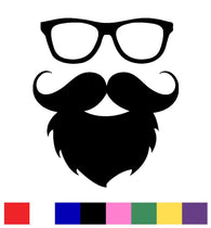 Glasses with Beard Face Decal Vinyl Sticker