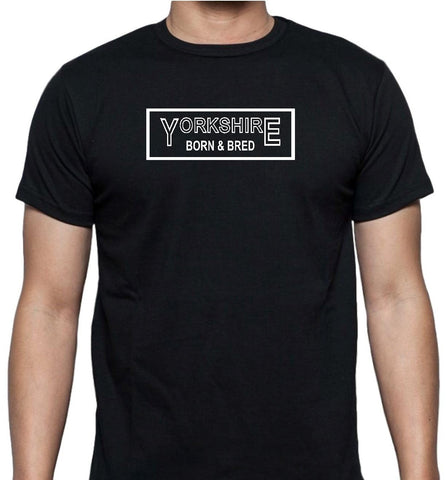 Yorkshire Born and Bred with Border Unisex Short Sleeve T Shirt