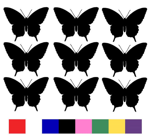 Butterfly x 9 Silhouette Decal Vinyl Stickers - Design 1