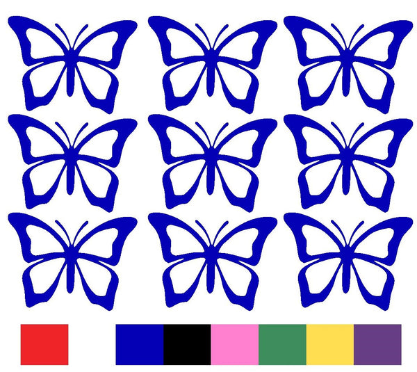 Butterfly x 9 Silhouette Decal Vinyl Stickers - Design 2