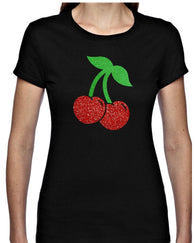 Two Cherries Glitter T Shirt     Available in 4 colours