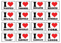 "I Love ""My Town"" Acrylic Fridge Magnets"
