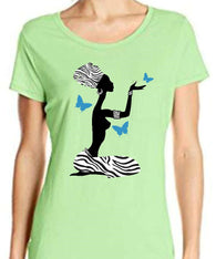 Girl and Butterfly Zebra and Foil Print T Shirt