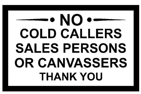 Warning No Cold Callers Sticker