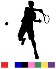 Male & Female Tennis Player Silhouette Vinyl Decal Sticker