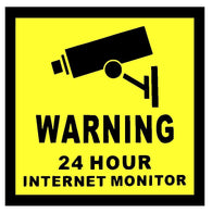 Warning 24 Hour Internet Monitor Sticker