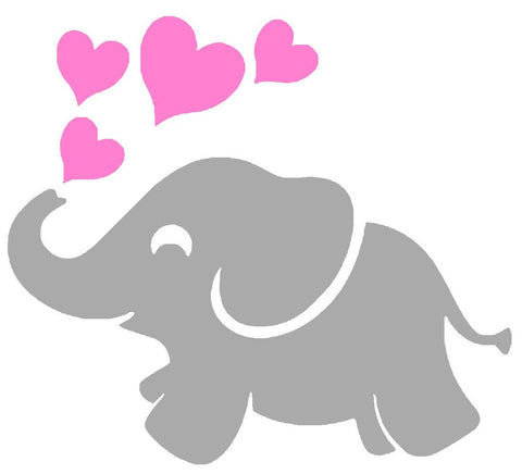 Baby Elephant and Hearts Silhouette Decal Vinyl Sticker