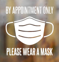 By Appointment Face Mask Decal Vinyl Sticker