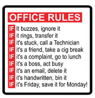Office Rules Decal Vinyl Sticker