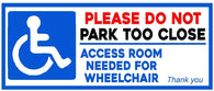 Disabled Please do not Park too Close Sticker