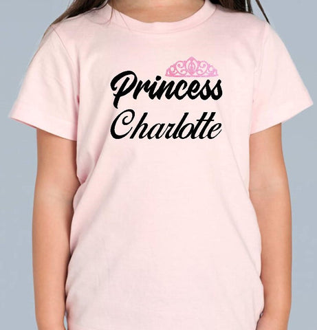 Girls Princess T Shirt - Personalised Available in 3 colours