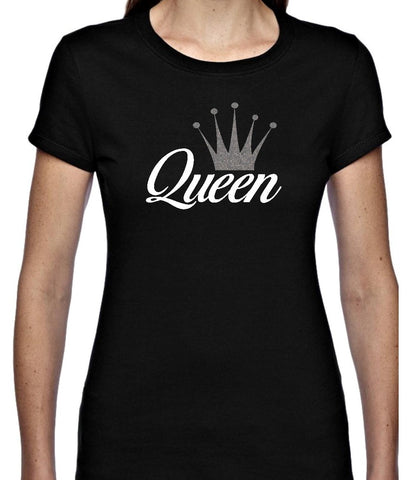 Queen And Crown Glitter T Shirt  Available in 4 colours