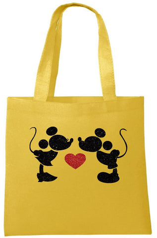 Mickey and Minnie Heart Tote Bag - Can Be Personalised