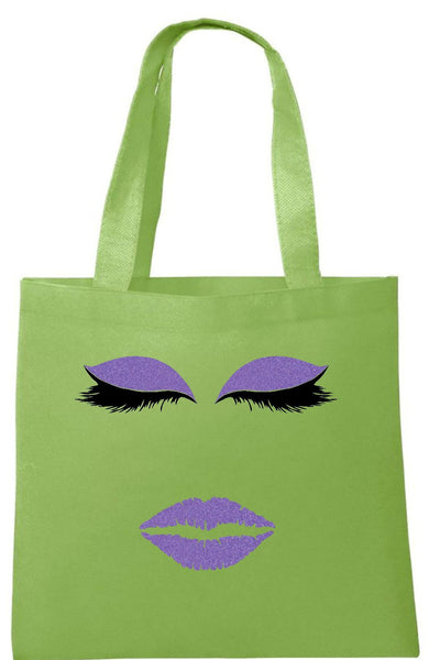 Glitter Purple Eyelashes Face Tote Bag