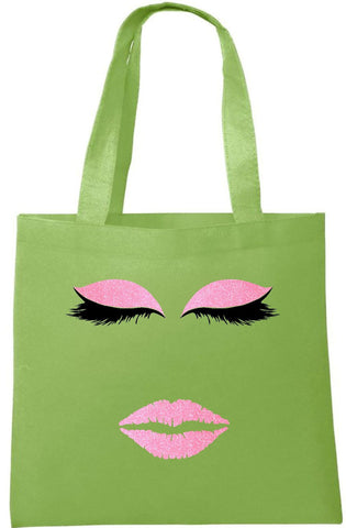 Glitter Hot Pink Eyelashes Face Tote Bag