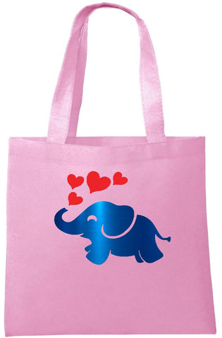 Elephant and Hearts in Metallic Foil Tote Bag - Can Be Personalised