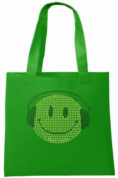 Rhinestone Smiley Face & Headphone Tote Bag