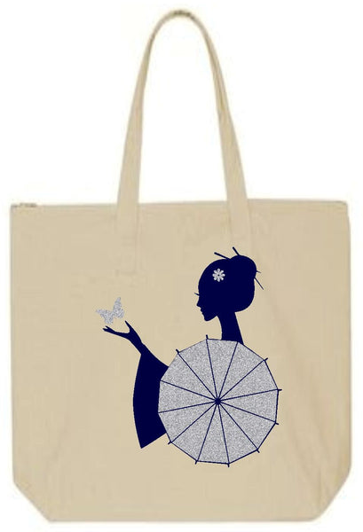 Geisha and Butterfly Maxi Tote Bag