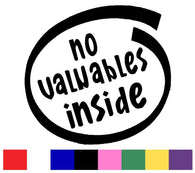 No Valuables Inside Silhouette Decal Vinyl Sticker