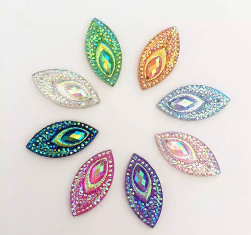 Large Peacock horse eye gems 9x18mm x 15 pieces