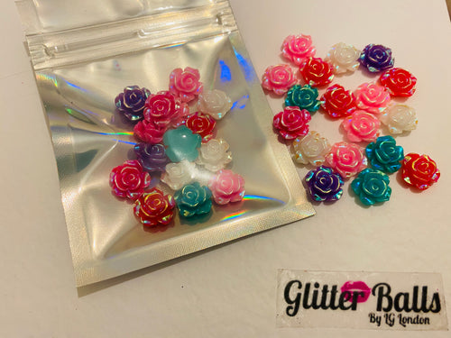 65. Medium Iridescent rose gems 15mm x 15 pieces