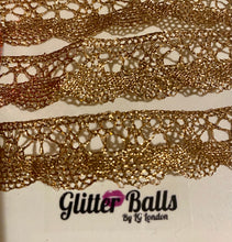 Ribbon Gold tone 3x20cm lengths lace