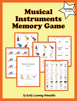Musical Instruments Memory Game Poster.