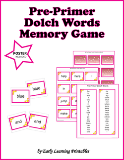 Pre-Primer Dolch Words Memory Game