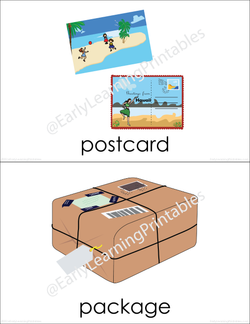 Colorful flashcards of objects you can find in the post office!