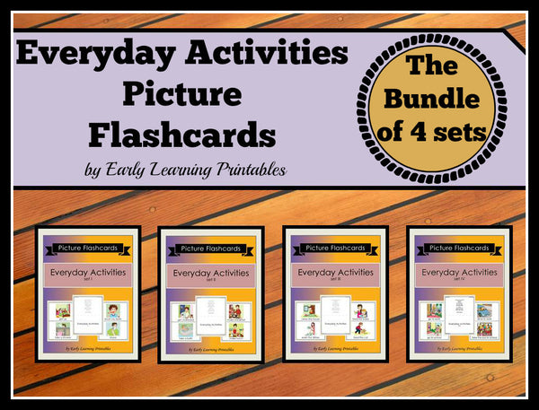 Charming bundle of 4 everyday activities flashcards for toddlers.