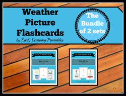 Bundle of 3 Weather sets of flashcards for toddlers.