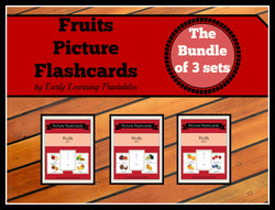 Bundle of colorful fruits flashcards for toddlers. 30 cards.