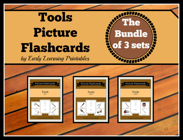 Bundle of 30 Tools flashcards for toddlers. Great for rapids flash method.