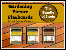 Cute flashcards to learn about different types of gardening tools and actions!