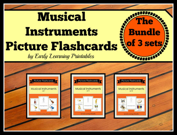 High-quality flashcards of musical instruments for young children.