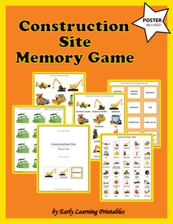 Construction Site Memory Game Poster.