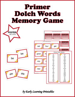 Primer Dolch Words Memory Game