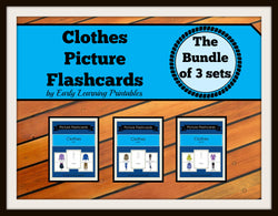 Clothes-bundle printable flashcards for toddlers.