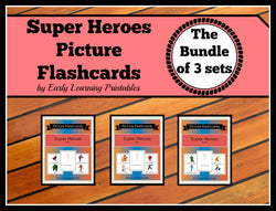 Super Hero printable flashcards with pictures & words.