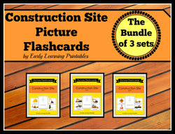 Discounted bundle of 30 Construction Site flashcards for toddlers!