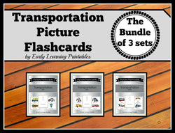 Discounted bundle of Transportation flashcards for toddlers.