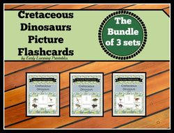 Cretaceous Dinosaurs discounted bundle of flashcards for toddlers.