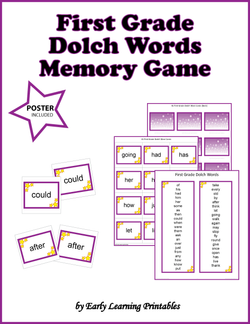 First Grade Dolch Words Memory Game