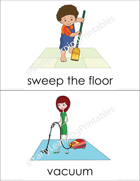 Gorgeous flashcards for learning basic housework vocabulary!