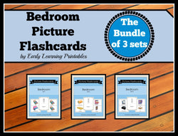 Bundle of 3 Bedroom sets of flashcards for toddlers. Dr. Glenn Doman inspired cards.