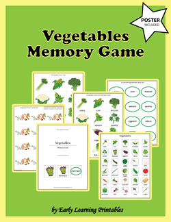 Vegetables Memory Game Poster.